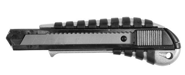 нож метал/резина корпус лезвие 18мм автоматический замок