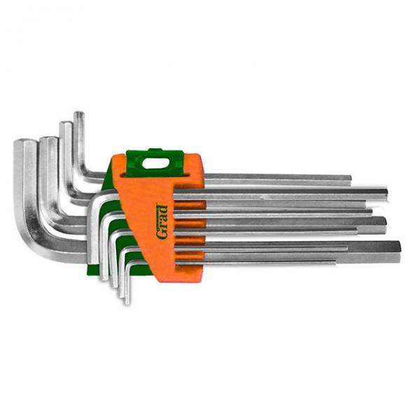 ключи шестигранные 9шт 1,5-10мм CrV (средние) Grad
