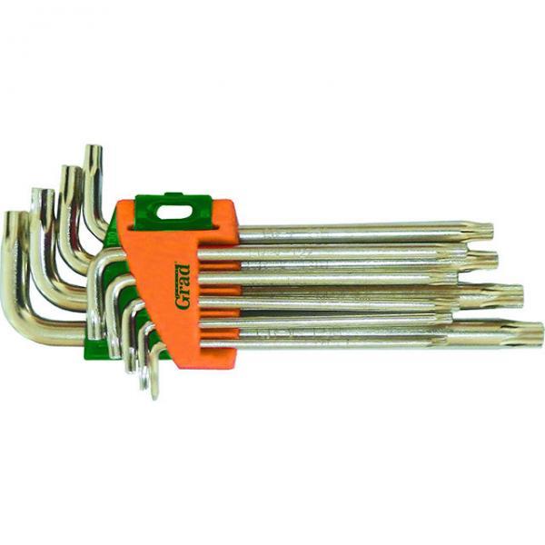 ключи torx 9шт T10-T50мм CrV (короткие с отвер) Grad