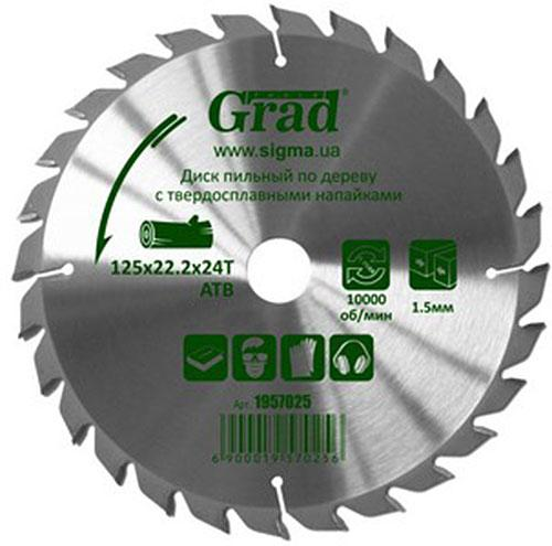 диск пильный по дереву с твердосплавными напайками 185х22,2(20;16)х40T Grad