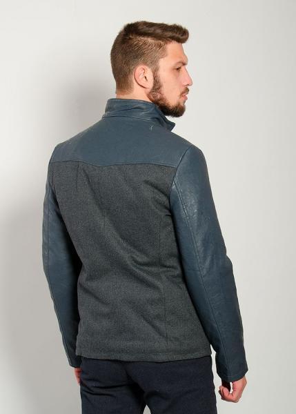 Куртка 2250-1 Кожзам+кашемир (Темно-серый-темно-серый)