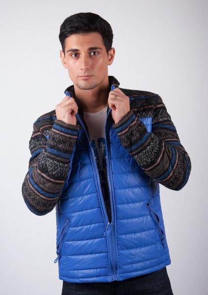 Куртка мужская с вязаными рукавами №95F001 (Электрик)