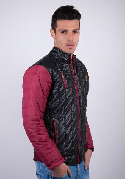 Демисезонная мужская куртка №57A065 (Черно-бордовый)