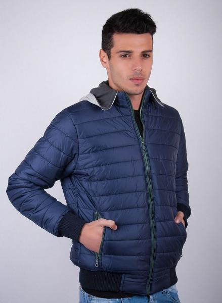 Куртка стеганая мужская с капюшоном №57A067 (Синий)