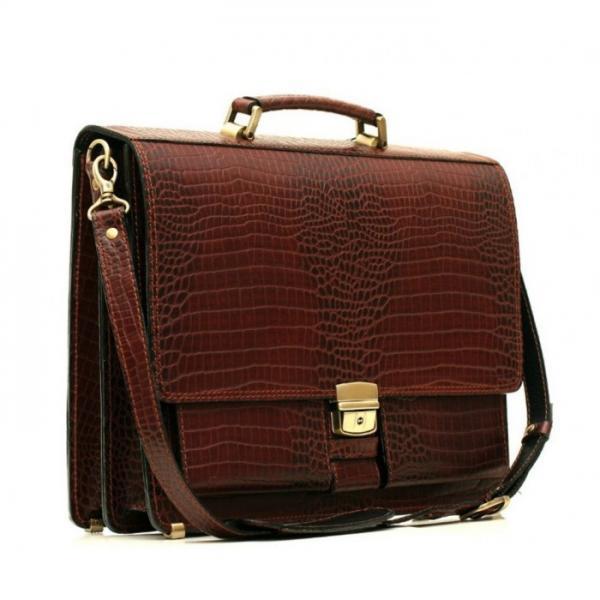 Мужской кожаный портфель PAV-25KROKO8