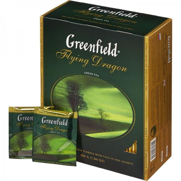 """Чай зеленый пакетированный """"Greenfield"""" Флаинг Драгон (разное кол-во пак. и цена, см. подробнее)"""