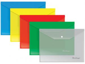 Пластиковый конверт inФОРМАТ А4 на кнопке, 180 мкм, цвет ассорти