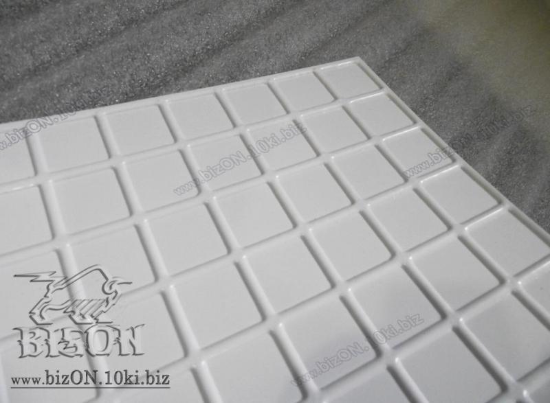 Фото Листовые панели ПВХ Мозаика «БЕЛАЯ С СЕРЫМ ШВОМ»   Листовые панели ПВХ