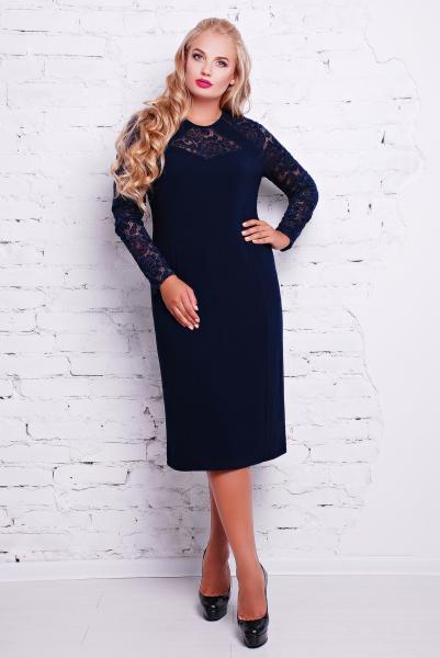Платье коктейльное цвет синий  ЭЛИНА