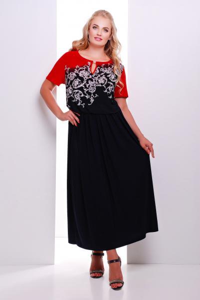 Платье макси с красным рисунком  ЕЛЕНА