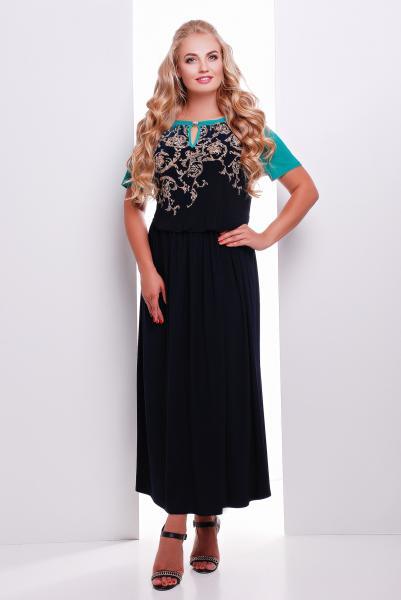 Платье макси с темно-бирюзовым рисунком  ЕЛЕНА