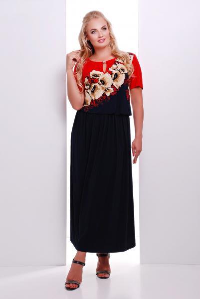 Платье макси с красным рисунком цветы  ЕЛЕНА