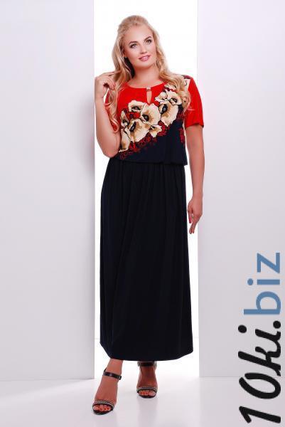 Платье макси с красным рисунком цветы  ЕЛЕНА Платья в пол, макси платья в ТЦ «Шок» (Харьков)