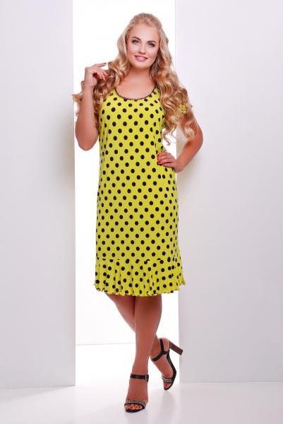 Платье лимонное в горошек с воланом  ЭЛА