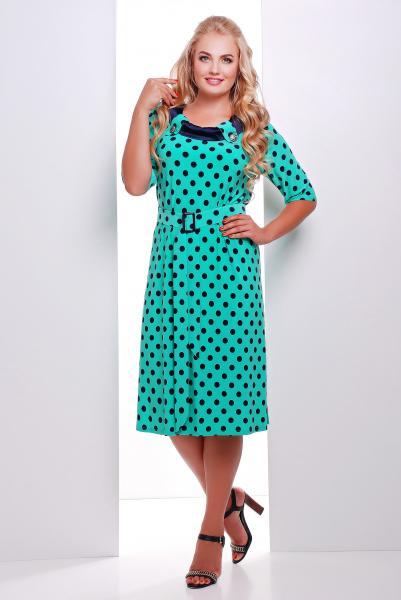Платье с атласной отделкой цвет бирюзовый  СИЛЬВИЯ