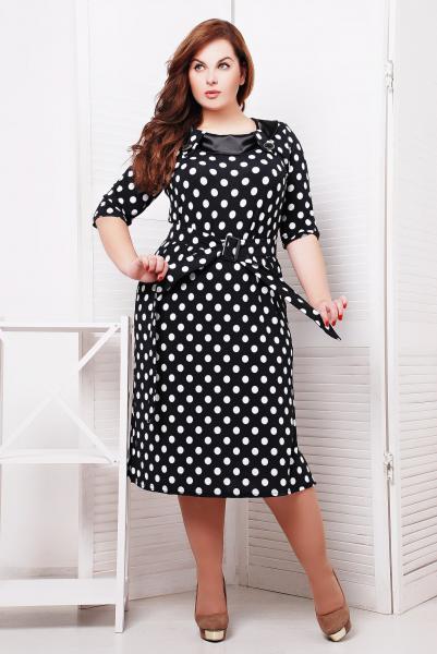 Платье с атласной отделкой цвет черный  СИЛЬВИЯ