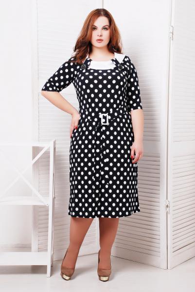 Платье с белой атласной отделкой цвет черный  СИЛЬВИЯ