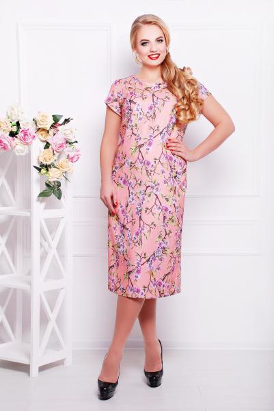 Платье прямое из льна розовое  САКУРА