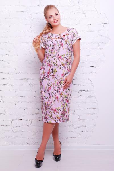 Платье прямое из льна нежно-розовое  САКУРА