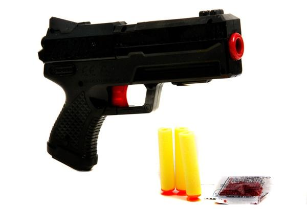 Пистолет 073 (120шт) 20-14см, водяные пули, пули-присоски 3шт, в кор-ке, 20,5-15-4см   Артикул: 01020073