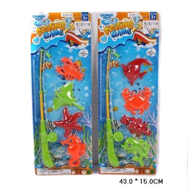 Рыбалка 338-2 (312шт/2) 2 вида, магнит.удочка, 4 морских животных,на планшетке 43*15см   Артикул: 01023382
