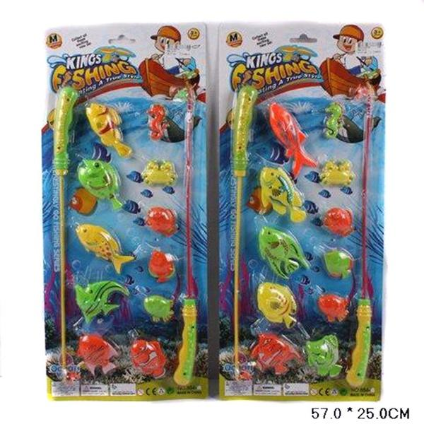 Рыбалка 884-14/15 (10205) (128шт/2) 2 вида, 2 магнит.удочка, 11 рыбок, на планшетке 57*25см   Артикул: 01028841