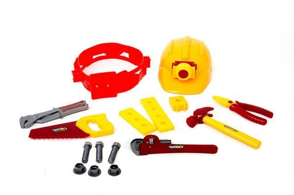 Набор инструментов 0718 AB (60шт) каска,плоскогубцы,отвертка,пила,2 вида, в сетке, 25-14,5-10см   Артикул: 01100718