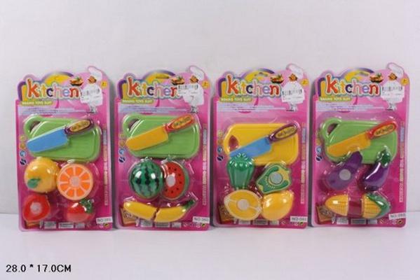 Овощи и фрукты 060 (240шт/2) 4 вида, делятся пополам,+ досточка и нож, на планш. 28*17см   Артикул: 02000060