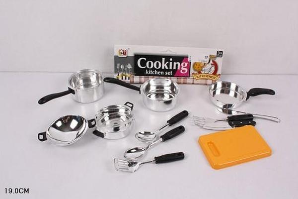 Посуда JJL011-1 (240шт/2) кастрюли, ковши, столов.приборы, досточка, в пакете 19см   Артикул: 02000111