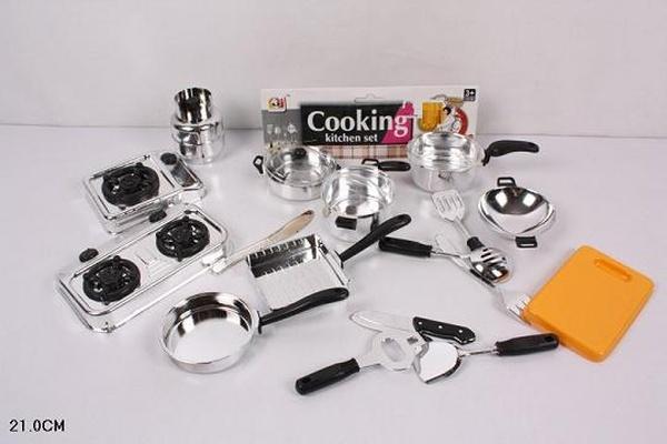 Набор газ. плита JJL011-4 (180шт/2) кастрюли, сковородки, ковши, досточка.. в пак.21см   Артикул: 02000114