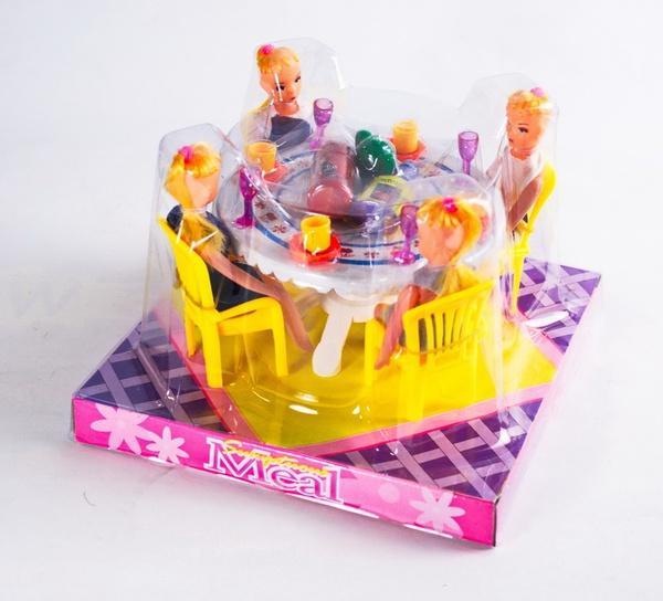 Мебель 507 (72шт/2) для столовой, стол, стулья, посуда, 4 куклы, в кор.18*18*13 см   Артикул: 02000507
