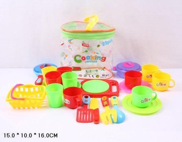 Посуда 610 (96шт/2) 23 дет, чашки, тарелки, фраже, в сумке 16*15*10см   Артикул: 02000610