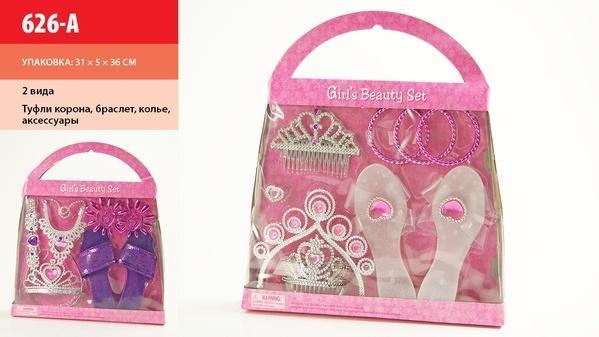 Аксессуары для девочек 626-A (72шт/2) 2 вида,туфли,корона,колье,кольцо,ногти,браслет,в кор.35*31*5см   Артикул: 02000626