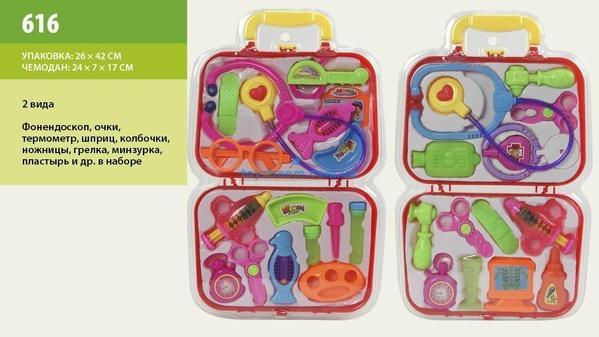 Доктор 616 (48шт/2) 2вида,стетоскоп,монитор,молотк,ножн,ванночки,бутылочки,в чемодан.26*42см   Артикул: 02000616