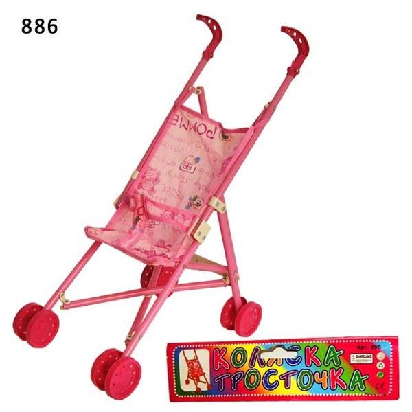Коляска-тросточка 886 (24шт) 2 вида, пласт, двойные колеса, складная, в пакете 24*54*37 см   Артикул: 02000886