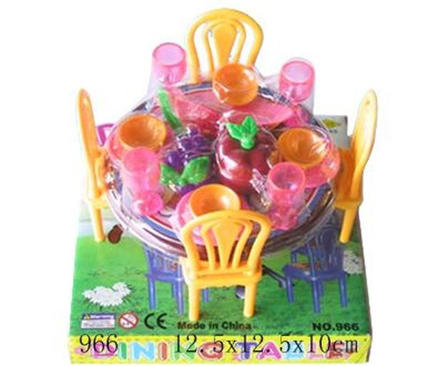 Мебель 966 (144шт/3) для столовой, стол, стулья, посуда, в кор.12,5*12,5*10см   Артикул: 02000966