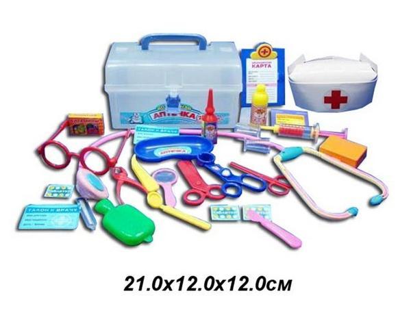 """Доктор """"Аптечка"""" 2551 (48шт/2)очки,табл,стетоск,грелка,градус,щипцы,ножницы,короб,чемод12*12*21,5см   Артикул: 02002551"""