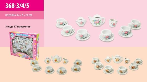 Посуда фарфор 368-3/4/5 (72шт/2) 3 вида, 17 дет, чайник, чашки, блюдца, в кор.24*21*4.5см   Артикул: 02003683