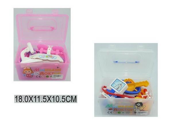 Доктор 5661A/2 (1151277/98) (72шт/2) 2 вида, стетоскоп, рентген, градусник, шприц,…. в чемодан. 18*11,5*10,5 см   Артикул: 02005661