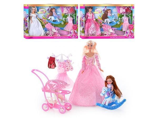 Кукла DEFA 6074 (12шт) наряды, с дочкой, коляска, лошадка-качалка, 3 вида, в кор-ке, 53-32-6см   Артикул: 02006074