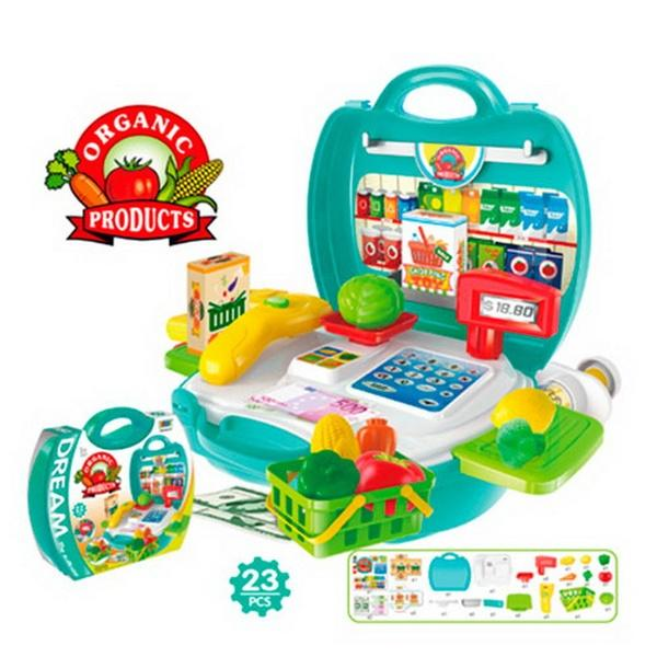 Магазин 8314 (36шт) касса. продукты, корзинка, 23 предмета, в чемодане, 22-22-10см   Артикул: 02008314