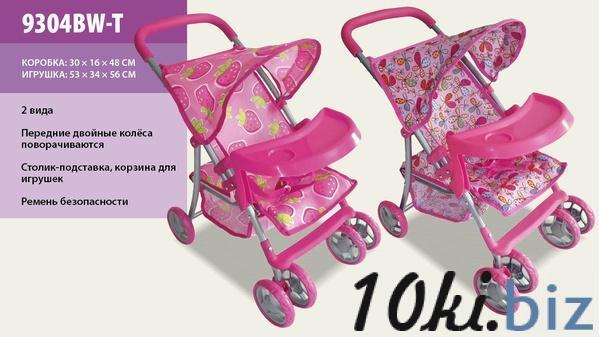 Коляска 9304ВW-T (4шт) летняя+корз+стол для бут, розов.кол, ткань клубничка, в кор. 55*34*55.5см   Артикул: 02009304 Коляски для кукол в Украине