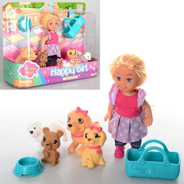 Кукла K899-32 (72шт) 11,5см, люлька, собачки 4шт, миска, в слюде, 22-16-6см   Артикул: 02019932
