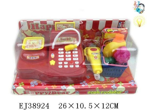 Кассовый аппарат с корзинкой, продуктами, под слюдой (арт. 009A), батарейки,свет,звук, EJ38924, 26х10,5х12см Jambo 100553499   Артикул: 02030009