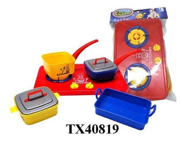Набор газ. плита TX40819 (120шт/2)сковородки,кастрюли,протвени,в пакете 28,5*18*6,5см   Артикул: 02040819