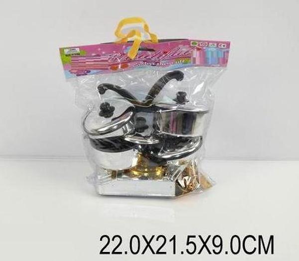 Набор газ. плита 8901-2 (893851) (120шт/2) кастрюля,сковородка,стол.приборы,в пак. 22*21,5*9см   Артикул: 02089012