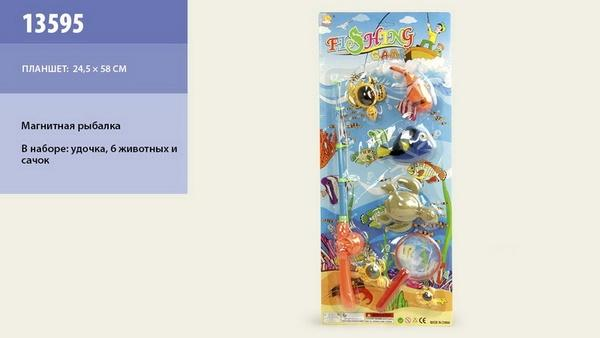 Рыбалка 13595 (84шт/2) магнит., удочка, сачок, 2 рыбки, 3 черепашки, на планшетке 58*24см   Артикул: 03013595