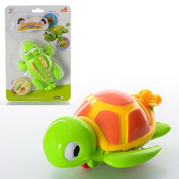Заводная игрушка 518AB (120шт) 13см, для купания, 2 вида (крокодил, черепаха), на листе, 17-25-6см   Артикул: 03022518
