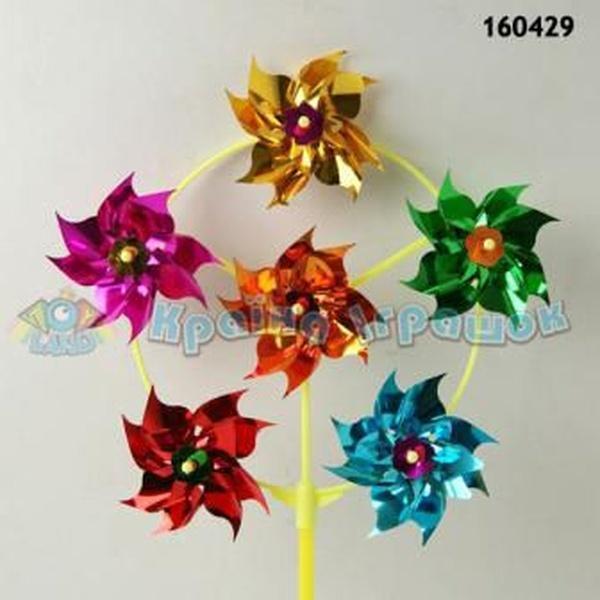 Ветрячок 160429 (B08941) (600шт/2) голограмма, цветной на палочке (30см), цветок - 9см   Артикул: 03160429