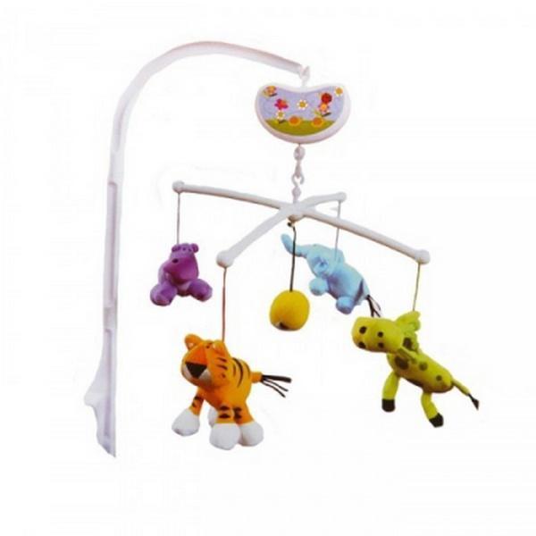 Музыкальный мобиль Biba Toys СЧАСТЛИВЫЕ ДЖУНГЛИ белый с разноцветными элементами   Артикул: 03200040